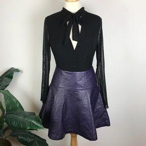 Nanette Lepore Faux Leather Telescope Skirt